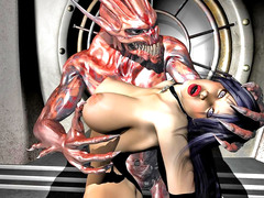 picture #4 ::: Lusty girl gets two demon cocks inside her