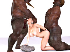 picture #2 ::: Minotaur cock stretching blonde's holes in hot threesome