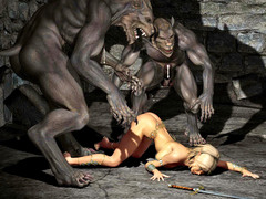 picture #3 ::: Pussy craving werewolves rape a hot warrior girl