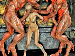picture #1 ::: 3d evil fuck of a blonde pounded by three monsters