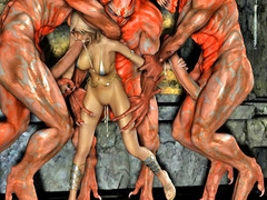 picture #2 ::: 3d evil fuck of a blonde pounded by three monsters