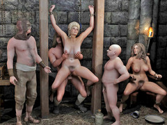 picture #1 ::: Kinky monsters taking turns on slave girls