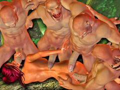 picture #12 ::: Kinky monsters taking turns on slave girls