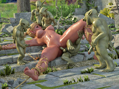picture #1 ::: Horny little goblins fuck a hottie twice their size