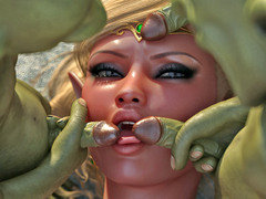 picture #4 ::: Tied up brunette gets her tonsils tickled with goblin cocks