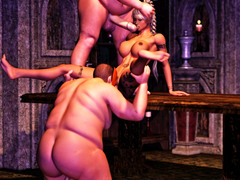 picture #6 ::: Ogre thugs rob and gangbang a sweet brunette