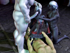 picture #1 ::: 3d elf fucked and his body fully in cum!