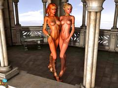 picture #1 ::: Lesbian elf hotties getting it on in the castle