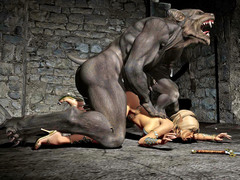picture #2 ::: 3d monster threesome with werewolves
