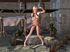 picture #1 ::: Helpless girl gangbanged by a goblin tribe