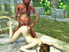 picture #2 ::: Vicious demon stuffs a hottie with his fat cock