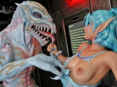picture #1 ::: Horny alien reptile bangs a sexy elf chick