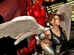 picture #2 ::: Horny devil seduces and fucks an angel girl