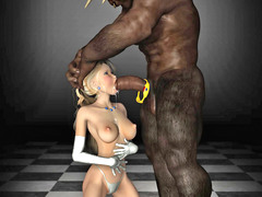 picture #1 ::: Blonde forced to deep throat a minotaur