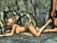 picture #1 ::: 3d busty blonde was gangbanged hard by three small goblins