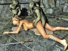 picture #2 ::: 3d busty blonde was gangbanged hard by three small goblins