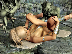 picture #5 ::: 3d busty blonde was gangbanged hard by three small goblins