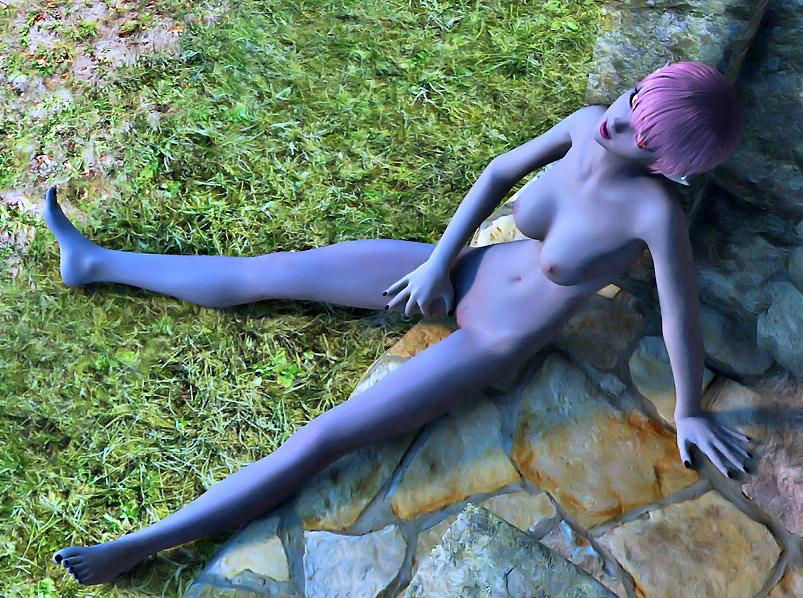 Beautiful alien girl masturbates hard outdoors at 3dEvilMonsters