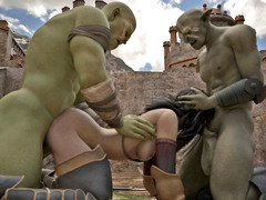 picture #4 ::: Hideous orcs double teaming a cutie