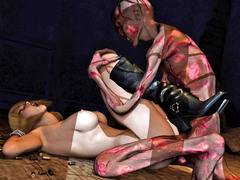 picture #1 ::: Raven haired babe enjoys fucking a monster
