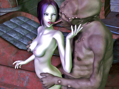 picture #2 ::: Raven haired babe enjoys fucking a monster