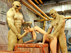 picture #2 ::: Busty brunette gets double teamed by horny monsters