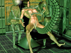 picture #1 ::: Kinky aliens hook up hotties to fucking machines