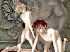 picture #1 ::: Sweet elven girl gets covered in monster jizz