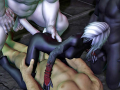 picture #3 ::: Sweet elven girl gets covered in monster jizz