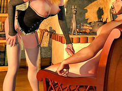 picture #4 ::: Amazing 3d babe shows her cock sucking skills