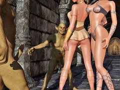 picture #1 ::: Two babes ambushed by a couple of horny orcs