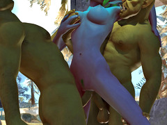 picture #3 ::: Two babes ambushed by a couple of horny orcs