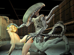 picture #1 ::: Helpless blonde fucked by an alien on all fours