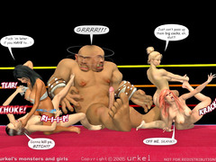 picture #3 ::: Four cock loving sluts fucked by a giant