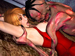picture #2 ::: Horrifying zombie fucking a hot brunette