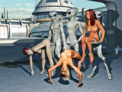 picture #5 ::: Curious babes let a bunch of aliens gangbang them