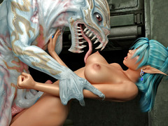 picture #1 ::: Busty hottie ambushed and fucked hard by a monster