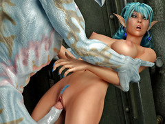 picture #3 ::: Busty hottie ambushed and fucked hard by a monster