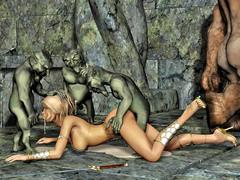 picture #1 ::: Hot blonde gangbanged and covered in goblin cum