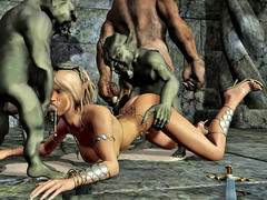picture #2 ::: Hot blonde gangbanged and covered in goblin cum
