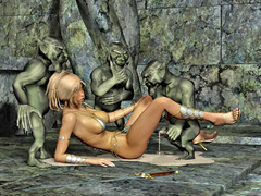 picture #3 ::: Hot blonde gangbanged and covered in goblin cum
