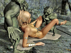picture #6 ::: Hot blonde gangbanged and covered in goblin cum