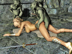 picture #7 ::: Hot blonde gangbanged and covered in goblin cum