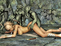 picture #8 ::: Hot blonde gangbanged and covered in goblin cum