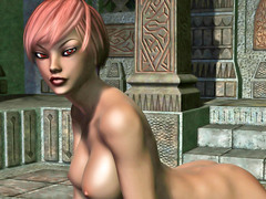 picture #1 ::: Busty redheaded elven babe loves posing naked