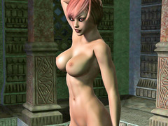 picture #2 ::: Busty redheaded elven babe loves posing naked