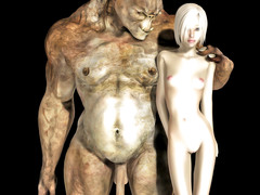 picture #1 ::: Horny monster fucks a cute little blonde