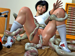 picture #3 ::: Hot blonde girl raped by tentacle monster on the bed