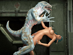 picture #2 ::: Horny monster abuses and fucks a hot babe