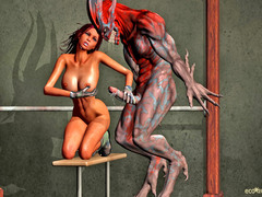 picture #5 ::: Horny monster abuses and fucks a hot babe